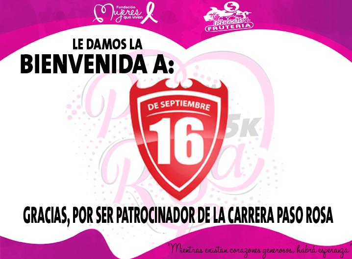 16 de septiembre patrocinador Carrera «Paso Rosa»